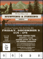 Fishing and Hunting Expo Green Camo Flyer