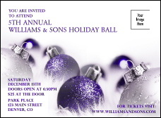 Christmas Ornament Purple Invitation