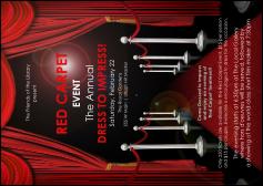 Blue dress red carpet invitation