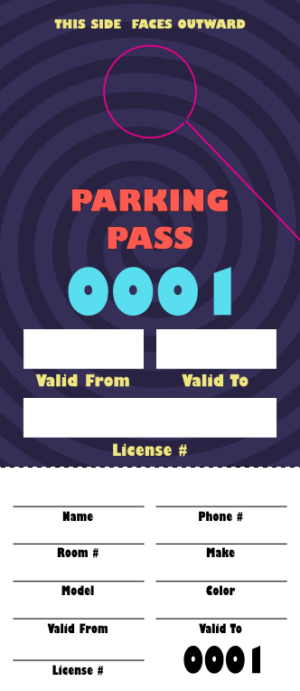 Comedy Spiral Parking Pass (100 pack)