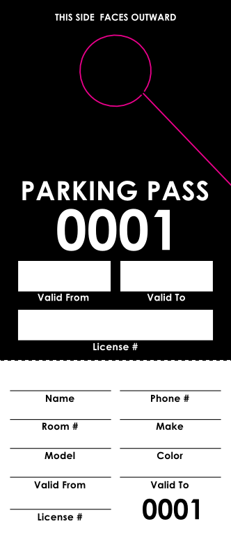 Black Parking Pass (100 pack)