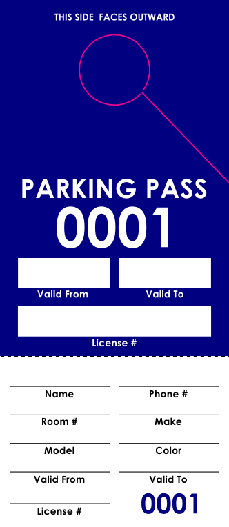 Blue Parking Pass (100 pack)