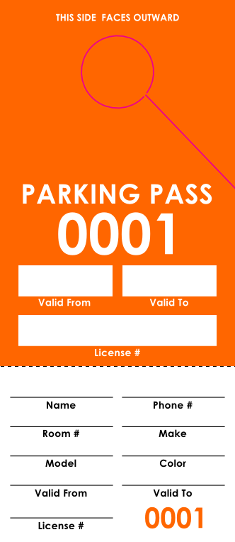 Orange Parking Pass (100 pack)