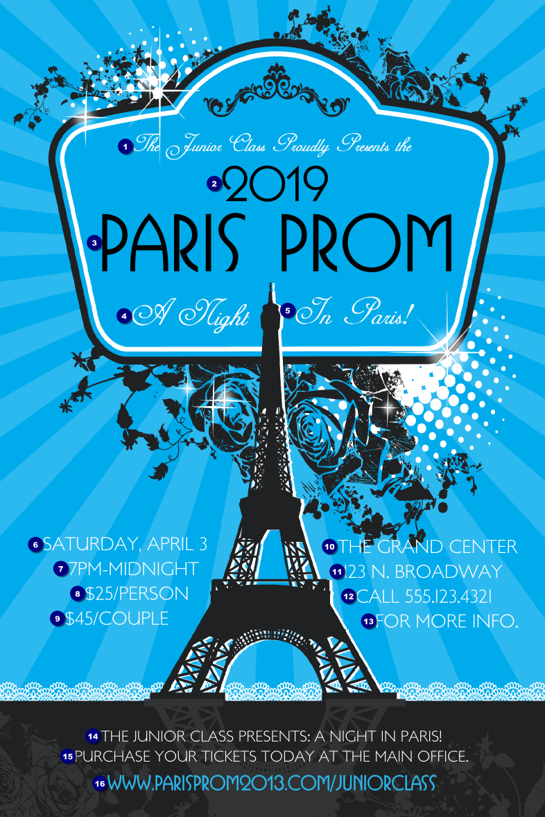 Paris Blue and Black Poster Product Front