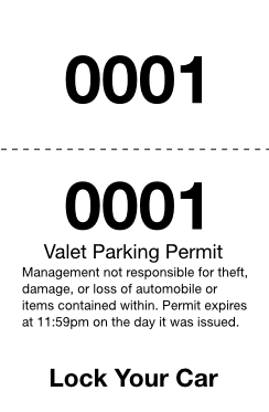 Basic 2-Part Valet Ticket (100 pack)