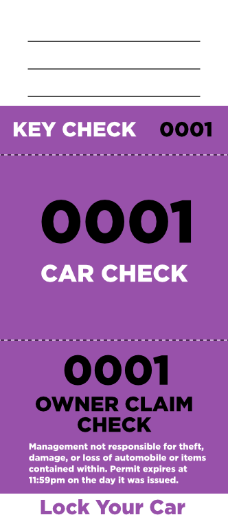 Purple 3-Part Valet Ticket (100 pack)