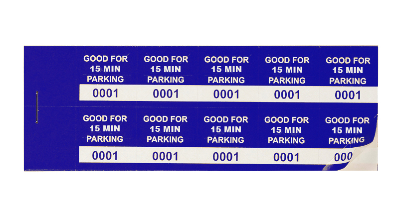 Blue 15 Min Parking Validation Stickers (package of 1000)