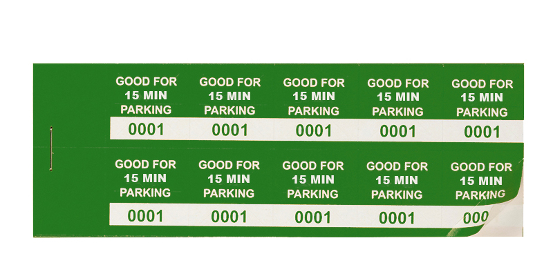 Green 15 Min Parking Validation Stickers (package of 1000)