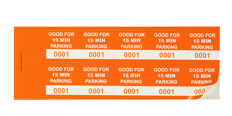 Orange 15 Min Parking Validation Stickers (package of 1000)