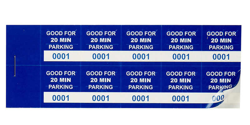 Blue 20 Min Parking Validation Stickers (package of 1000)