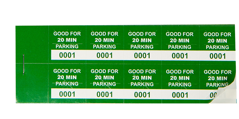 Green 20 Min Parking Validation Stickers
