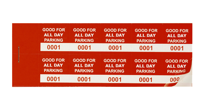 Red All-Day Min Parking Validation Stickers (package of 1000)