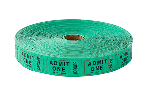 Single Roll Tickets Green Admit One