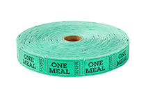 Single Roll Tickets Green One Meal