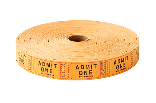 Single Roll Tickets Orange Admit One