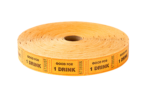 Single Roll Tickets Orange One Drink