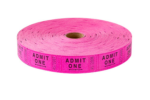 Single Roll Tickets Pink Admit One