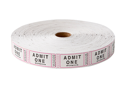 Single Roll Tickets White Admit One